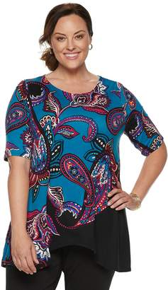 Dana Buchman Plus Size Sharkbite Elbow Sleeve Tunic