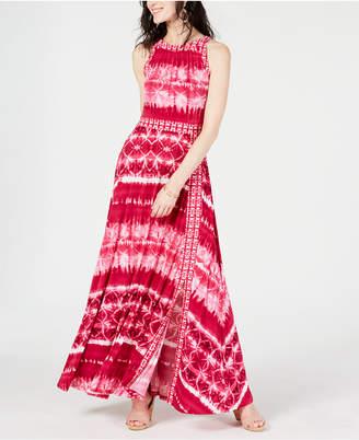 INC International Concepts I.n.c. Tie Dye Border-Print Maxi Dress