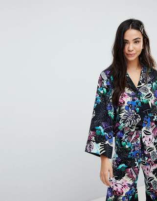 Monki Tropical Floral Print Shirt