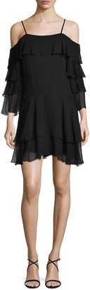 Alice + Olivia Lexis Ruffled Cold-Shoulder Mini Dress