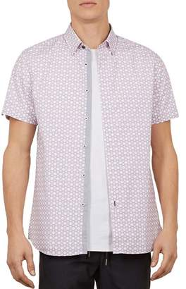 Ted Baker Enyone Hex Line-Print Slim Fit Shirt