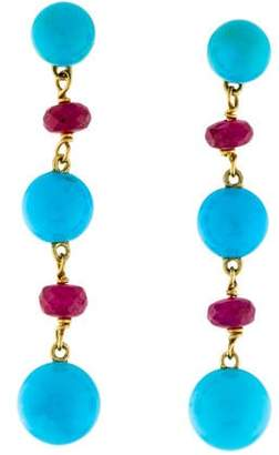 Paul Morelli 18K Turquoise & Composite Ruby Drop Earrings