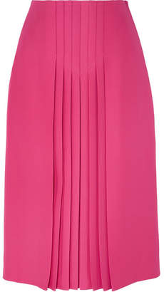 Valentino Pleated Silk And Wool-blend Midi Skirt - Pink