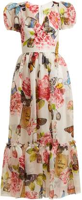 Dolce & Gabbana Butterfly and padlock-print midi dress