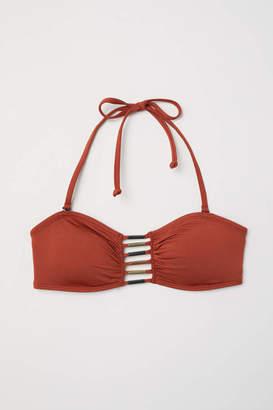 H&M Bandeau Bikini Top with Lacing - Rust red - Women