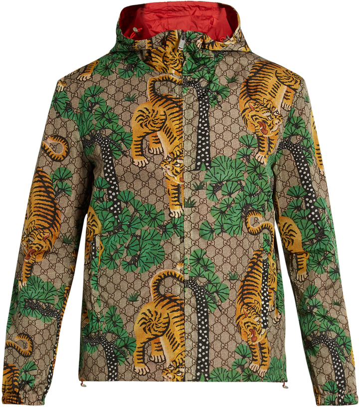 Gucci Tiger print Hooded Jacket ShopStyle