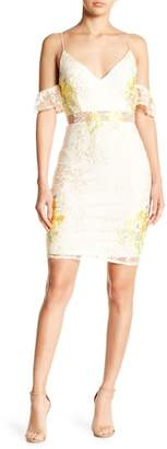 Soieblu Embroidery Accent Cold Shoulder Mini Dress