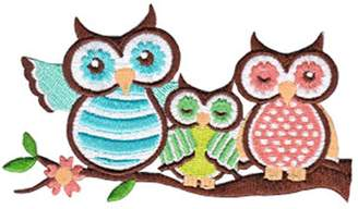 Christian Dior C&D Animal Patch - Three Cute Owls Perched on Branch Stripes & Dots Applique
