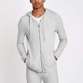 River Island Grey knit muscle fit zip hoodie