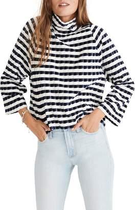 Madewell Texture & Thread Velvet Stripe Mock Neck Top