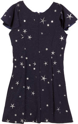 Zoe Star-Print Fit-and-Flare Short-Sleeve Dress Size 7-16