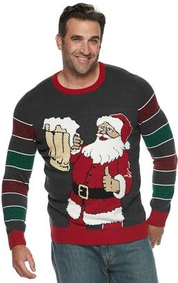 Big & Tall Beer Santa Striped Sleeve Christmas Sweater