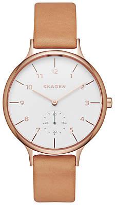 Skagen SKW2405 Women's Anita Leather Strap Watch, Tan/White