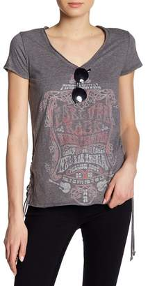William Rast Carson Lace-Up Graphic Print Tee