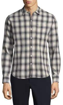 Officine Generale Plissee Check Button Down Shirt