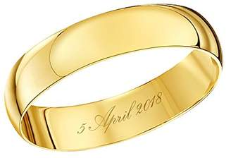 Theia Unisex 9 ct Yellow Gold, Heavy D Shape, Engraved '05 April 2018' Polished, 4mm Wedding Ring - Size R