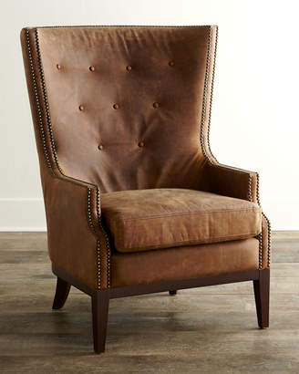 Horchow Oak Leather Chair