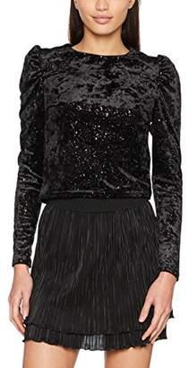 New Look Women's Sparkle Velvet Puff Long Sleeve Top,Size 8