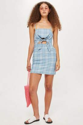 Topshop Checked Denim Mini Dress