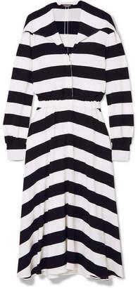 Calvin Klein Striped Stretch-jersey Midi Dress - Black