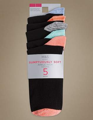 Marks and Spencer 5 Pair Pack Supersoft Ankle High Socks