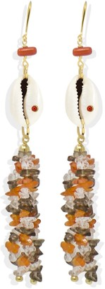 Vintouch Italy Coral & Cowrie Shell Statement Earrings