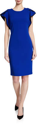 Calvin Klein Jewel-Neck Ruffle-Sleeve Tipped Dress