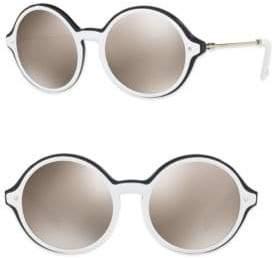 Valentino Rockstud 53MM Mirrored Round Sunglasses