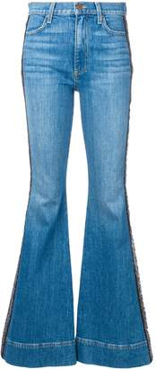 Alice + Olivia Alice+Olivia embroidered stripe flared jeans