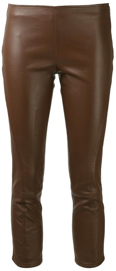 The Row cropped leather legging