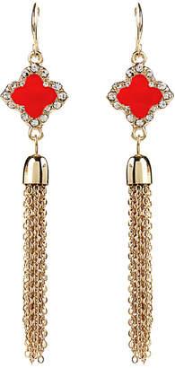 Amrita Singh Clover Crystal & Enamel Tassel Earrings