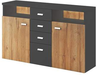 URBAN RESEARCH Helvetia Bota Sideboard with 2 and 4 Drawers, Anthracite / Ribbec Oak