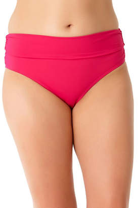 Anne Cole Plus High-Waist Shirred Bikini Bottom