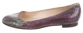 Manolo Blahnik Snakeskin Ballet Flats