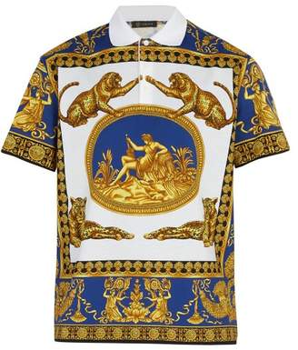 Versace Leopard Print Polo Shirt - Mens - Multi