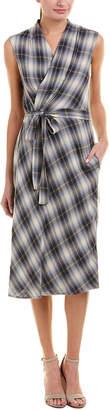 Vince Plaid Wrap Dress