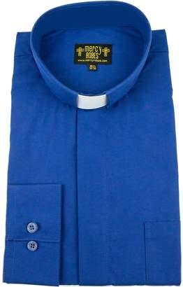 27e0898198 Mercy Robes Men s Long Sleeve Standard Cuff Tab Collar Clergy Shirt