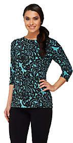 Bob Mackie Bob Mackie's Lace Print 3/4 Sleeve JerseyKnit Top