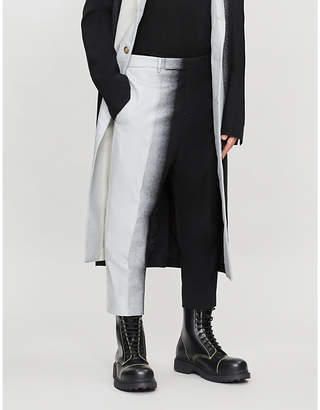 Rick Owens Spray-painted slim-fit tapered wool-blend trousers