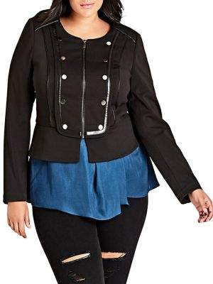 City Chic Plus Fitted-Fit Embellished Military Jacket