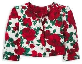Janie and Jack Little Girl's& Girl's Jacquard Floral Print Sweater