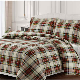 Tribeca Living Charleston Cotton Flannel Printed Oversized King Duvet Set Bedding