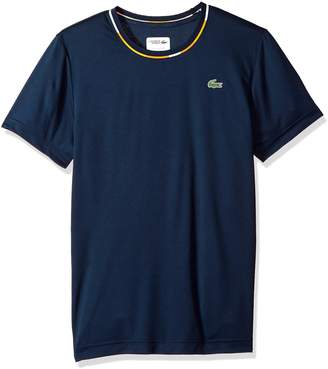 Lacoste Men's Short Sleeve Ultra Dry Pique with Jacquard Detail T-Shirt, TH3132