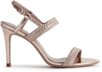 Reiss PARIS METALLIC HANDWOVEN STRAPPY SANDALS Metallic