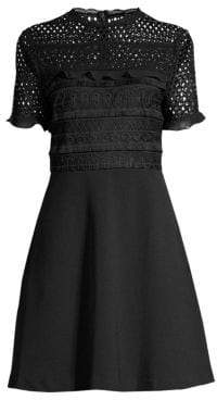 Laundry by Shelli Segal Ruffled Lace& Crepe Dress