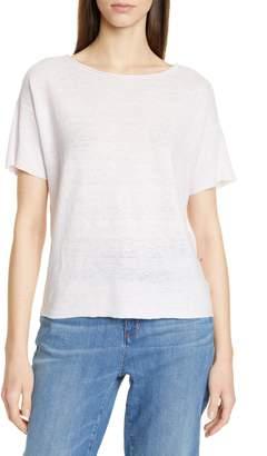 Eileen Fisher Bateau Neck Short Sleeve Organic Linen Sweater