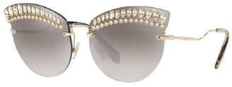 f5021565f8e8 Miu Miu Crystal Trim Rimless Cat-Eye Sunglasses