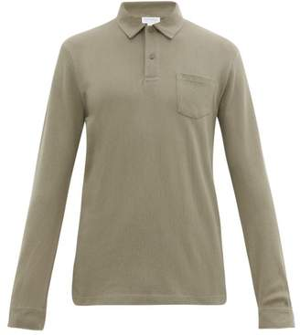 Sunspel Riviera Long Sleeved Cotton Pique Polo Shirt - Mens - Grey