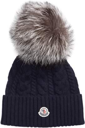 1b0c0dfff01 Moncler Genuine Fox Fur Pom Wool Beanie