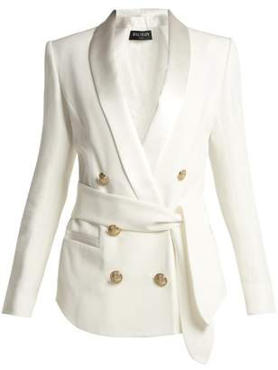 Balmain Double Breasted Crepe Blazer - Womens - White